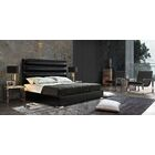 Bardot Channel Tufted Upholstered Panel Bed Color: Black, Size: King