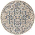 Dunnyvadden Blue/Cream Area Rug Rug Size: Round 6'7
