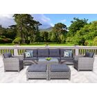 Dowdy 9 Piece Rattan Sectional Seating Group with Cushions Cushion Color: Gray