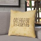 Daniyar Vintage Typography Throw Pillow with Zipper Size: 16
