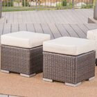 Orman Ottoman with Cushion Color: Multibrown/Beige