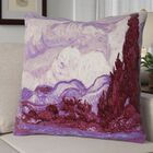 Lapine Mauve Wheatfield with Cypresses Square Throw Pillow Size: 16