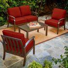 Yandel Bridgeport 4 Piece Conversation Set with Cushions Cushion Color: Red