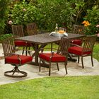 Yandel Bridgeport Heights 7 Piece Dining Set with Cushions Cushion Color: Red