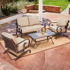 Kingston Seymour Milano 4 Piece Rattan Conversation Set With Cushions Cushion Color: Tan