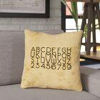 Daniyar Vintage Typography Outdoor Throw Pillow Size: 16