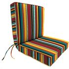 Boxed Indoor/Outdoor Dining Chair Cushion Fabric: Green/White
