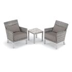 Saint-Pierre 3 Piece Seating Group with Cushion Cushion Color: Stone, Table Top Color: Ash