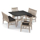 Laney 5 Piece Dining Set with Cushions Cushion Color: Canvas , Table Top Color: Charcoal, Color: Natural
