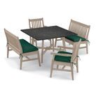 Laney 5 Piece Dining Set with Cushions Cushion Color: Hunter Green, Table Top Color: Charcoal, Color: Grigio