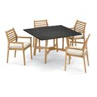 Eichhorn 5 Piece Dining Set with Cushions Cushion Color: Canvas, Table Top Color: Charcoal
