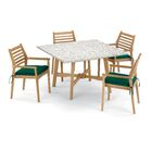 Eichhorn 5 Piece Dining Set with Cushions Cushion Color: Hunter Green, Table Top Color: Ash