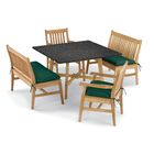 Laney 5 Piece Dining Set with Cushions Cushion Color: Hunter Green, Table Top Color: Charcoal, Color: Natural