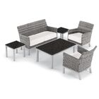 Saint-Pierre 6 Piece Sofa Set with Cushions Cushion Color: Eggshell White, Table Top Color: Charcoal