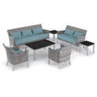 Saint-Pierre 7 Piece Sofa Set with Cushions Cushion Color: Ice Blue , Table Top Color: Charcoal