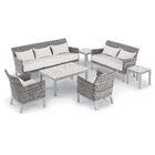 Saint-Pierre 7 Piece Sofa Set with Cushions Cushion Color: Eggshell White , Table Top Color: Ash