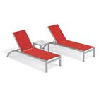 Saint-Pierre Reclining Chaise Lounge with End Table Color: Red, Tabletop Color: Ash