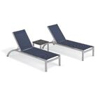 Saint-Pierre Reclining Chaise Lounge with End Table Color: Ink Pen, Tabletop Color: Charcoal