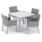 Saleh 5 Piece Dining Set with Cushion Cushion Color: Stone, Table Top Color: Ash