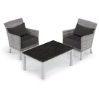 Saint-Pierre 3 Piece Sectional Set with Cushions Cushion Color: Jet Black, Table Top Color: Charcoal