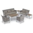 Saint-Pierre 7 Piece Lounge Rattan Sofa Set with Cushions Cushion Color: Stone