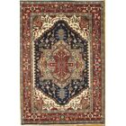 Heriz Hand-Knotted Wool Blue/Red Area Rug