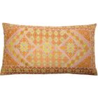 Ovellette Tile Embroidery Linen Pillow Cover Color: Coral