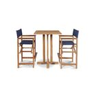 Criner 3 Piece Teak Bar Height Dining Set Color: Blue