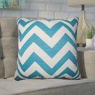 Creason Zigzag Cotton Throw Pillow Color: Blue
