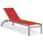 Saleem Armless Reclining Chaise Lounge Color: Red, Frame Color: Tekwood Vintage