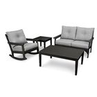 Vineyard Deep Seating 4 Piece Conversation Set with Cushions Frame Color: Black, Cushion Color (Fabric): Canvas Granite