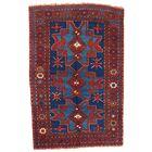 Azerbaijan Kazak Hand-Woven Wool Red/Navy Area Rug