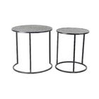 Rochell Contemporary Round Iron 2 Piece Nesting Tables Set