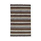 Striped Durie Kilim Flat Weave Hand-Knotted Brown/Off White Area Rug