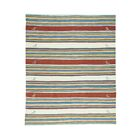 Durie Kilim Flat Weave Striped Hand-Knotted Denim Blue/Burgundy/Ivory Area Rug