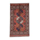 One-of-a-Kind Elephant Afghan Ersari Hand-Knotted Red Area Rug