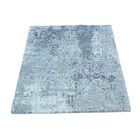 One-of-a-Kind Abstract Hi and Low Hand-Knotted Silver/Blue Area Rug