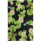 Ismail Lily Pad and Frogs Hand-Hooked Black/Green Indoor/Outdoor Area Rug Rug Size: Rectangle 4'10