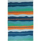 Carlito Calypso Stripe Hand-Hooked Blue Indoor/Outdoor Area Rug Rug Size: Rectangle 4'10