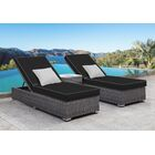 Zavis 3 Piece Reclining Chaise Lounge Set Cushion Color: Black/Gray