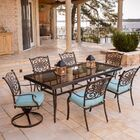 Carleton 7 Piece Dining Set with Cushions Cushion Color: Blue