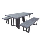 Merrydale Outdoor Picnic Table with 2 Benches Frame Color: Textured Gray Oak