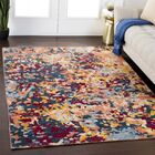 Rand Abstract Bright Yellow/Burgundy Area Rug Rug Size: Rectangle 5'3