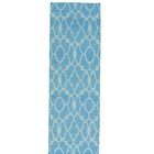 Reversible Flat Weave Killim Oriental Hand-Knotted Cotton Blue Area Rug