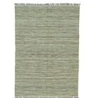 Striped Durie Kilim Flat Weave Oriental Hand-Knotted Light Green Area Rug