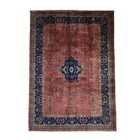 One-of-a-Kind Sarouk Fereghan Revival New Zealand Hand-Knotted Rust Red/Navy Area Rug