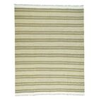 One-of-a-Kind Striped Flat Weave Kilim Hand-Knotted Light Green/Beige Area Rug