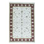 One-of-a-Kind Rajasthan Half and Half Hand-Knotted Beige Area Rug