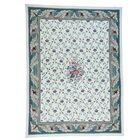 One-of-a-Kind Needlepoint Botanical Hand-Knotted Ivory Area Rug