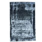 Hi and Low Abstract Hand-Knotted Charcoal Black Area Rug